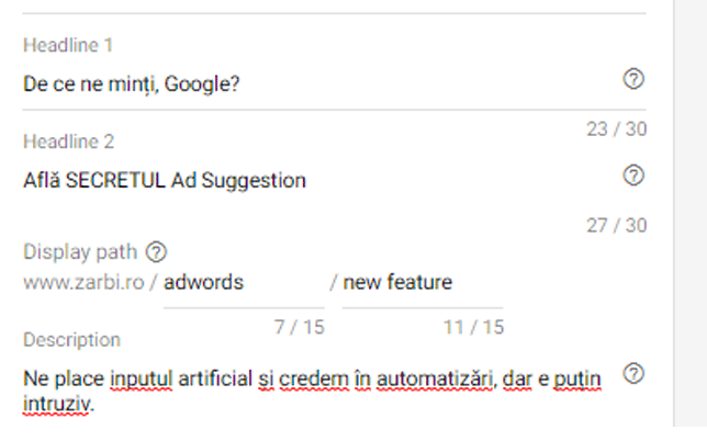 AdWords New Feature - Ad Suggestions